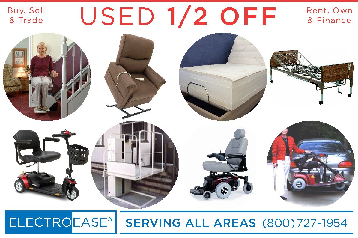 used electric adjustable & hospital beds, recycled lift chair & stair Lift, second mobility scooters & pride jazzy powerchair wheel chairs seconds