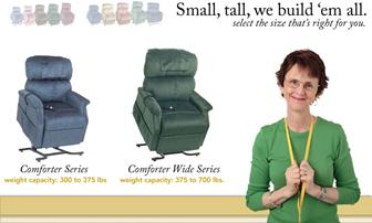 All Lift Chair Recliner  Pride Golden LiftLift Sizes:  Jr.  Petite, Small, Medium, Large and Tall Extra Wide Large  Heavy Duty Bariatric